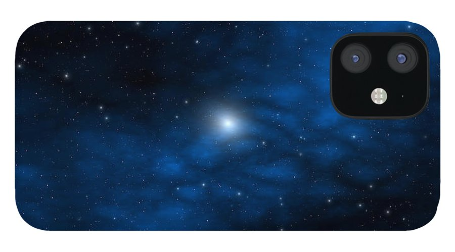 Space IPhone 12 Case featuring the digital art Blue Interstellar Gas by Robert aka Bobby Ray Howle