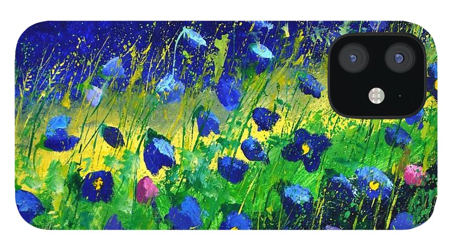Landscape IPhone 12 Case featuring the painting Blue poppies 674190 by Pol Ledent