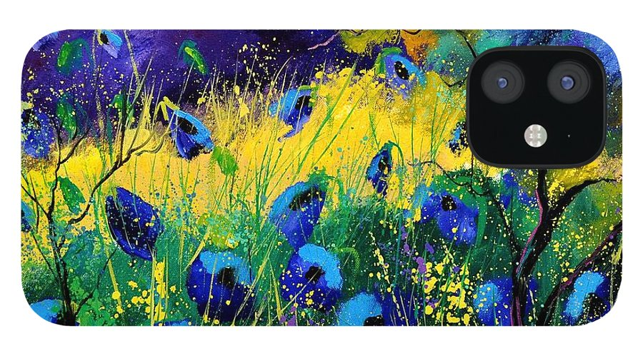 Landscape IPhone 12 Case featuring the painting Blue poppies 7741 by Pol Ledent