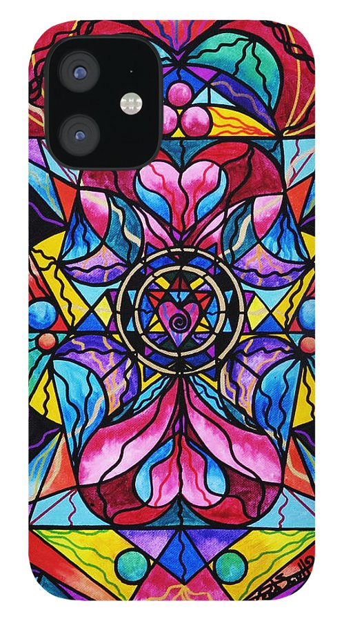 Blue Ray Healing IPhone 12 Case featuring the painting Blue Ray Self Love Grid by Teal Eye Print Store
