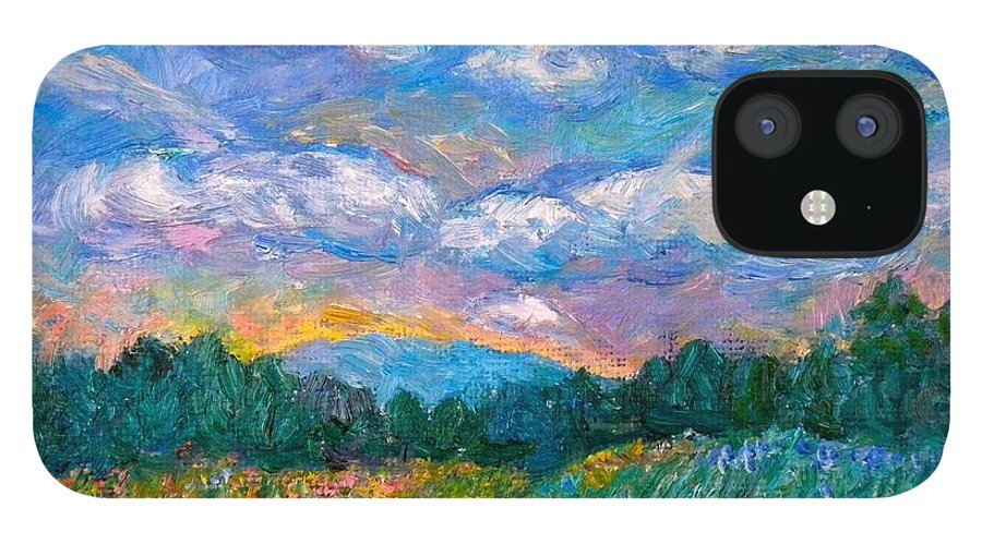 Landscape IPhone 12 Case featuring the painting Blue Ridge Wildflowers by Kendall Kessler