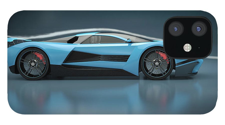 Aerodynamic IPhone 12 Case featuring the photograph Blue Sports Car In A Wind Tunnel by Mevans