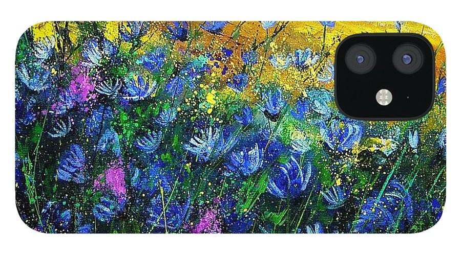 Flowers IPhone 12 Case featuring the painting Blue wild chicorees by Pol Ledent