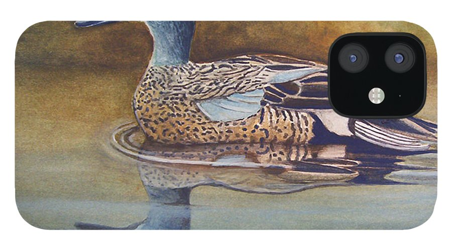 Rick Huotari IPhone 12 Case featuring the painting Blue Winged Teal by Rick Huotari