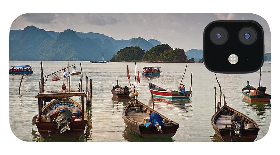 Southeast Asia IPhone 12 Case featuring the photograph Boats Moored In Sea, Teluk Baru by Richard I'anson