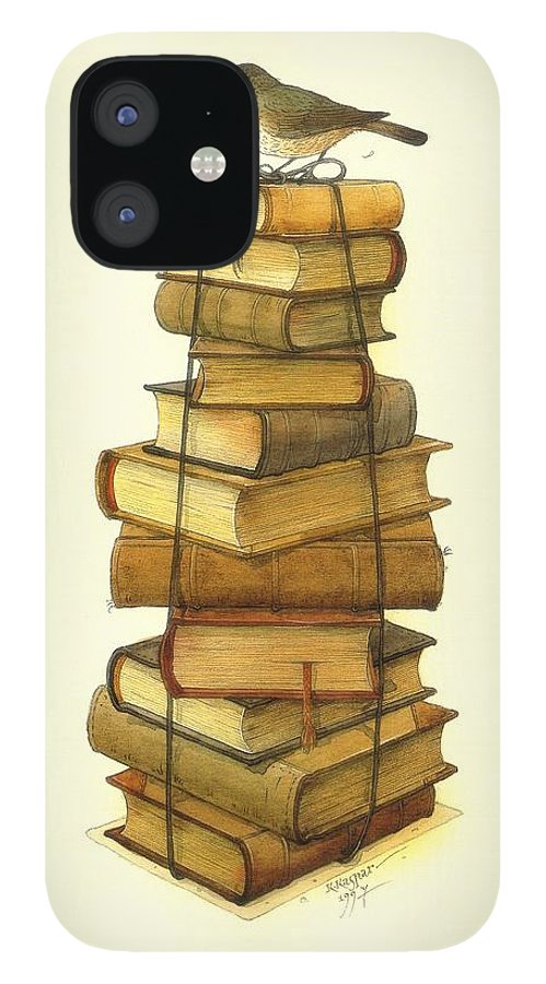 Books Greeting Cards Birds IPhone 12 Case featuring the painting Books and little Bird by Kestutis Kasparavicius