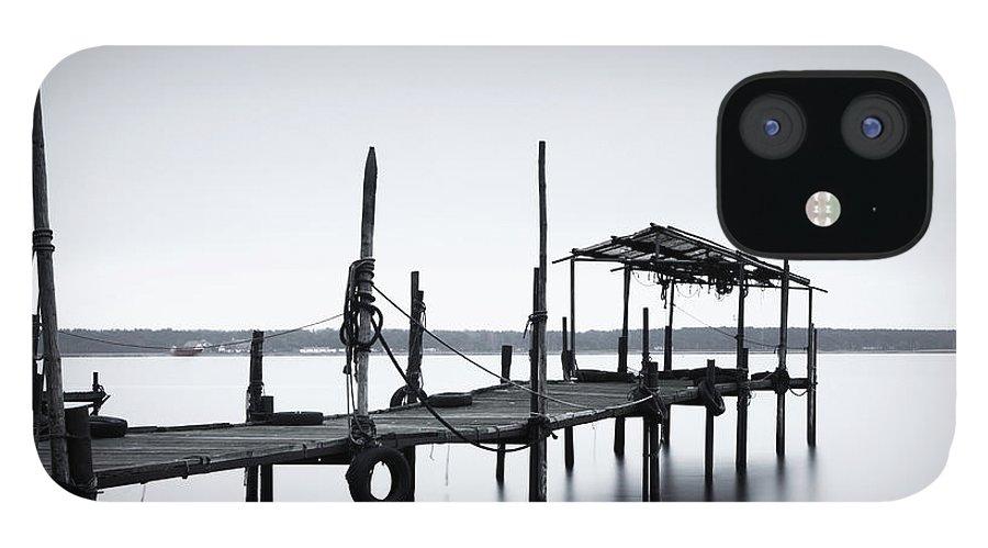Tranquility IPhone 12 Case featuring the photograph Bootssteg Im Alten Hafen Klein Zicker by Spreephoto.de