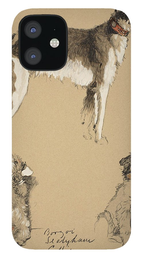 Dog IPhone 12 Case featuring the drawing Borzoi, Sealyham And Collie, 1930 by Cecil Charles Windsor Aldin
