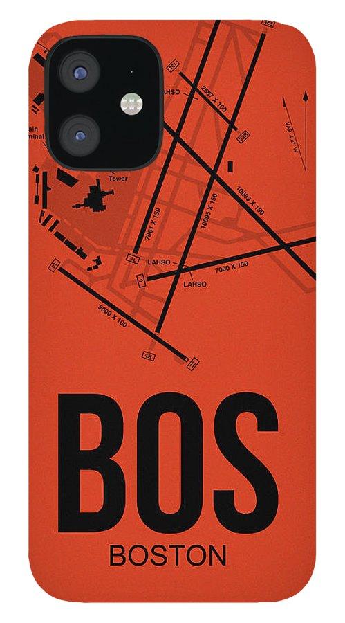 Boston iPhone 12 Case featuring the digital art Boston Airport Poster 2 by Naxart Studio