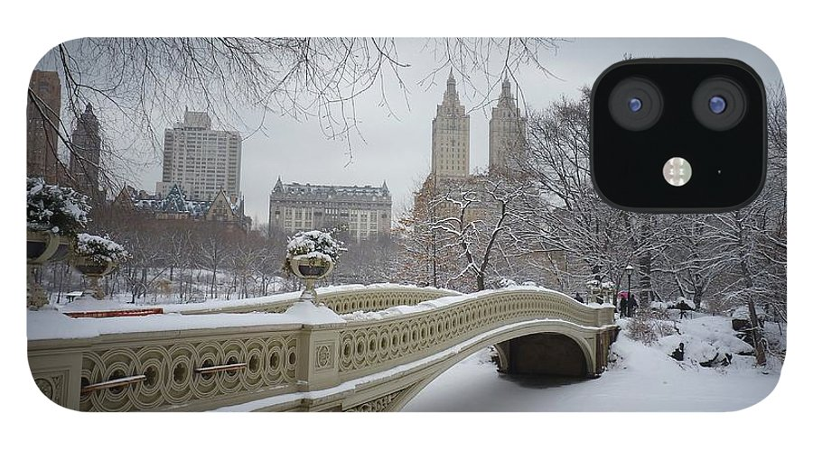 Landscape IPhone 12 Case featuring the photograph Bow Bridge Central Park in Winter by Vivienne Gucwa