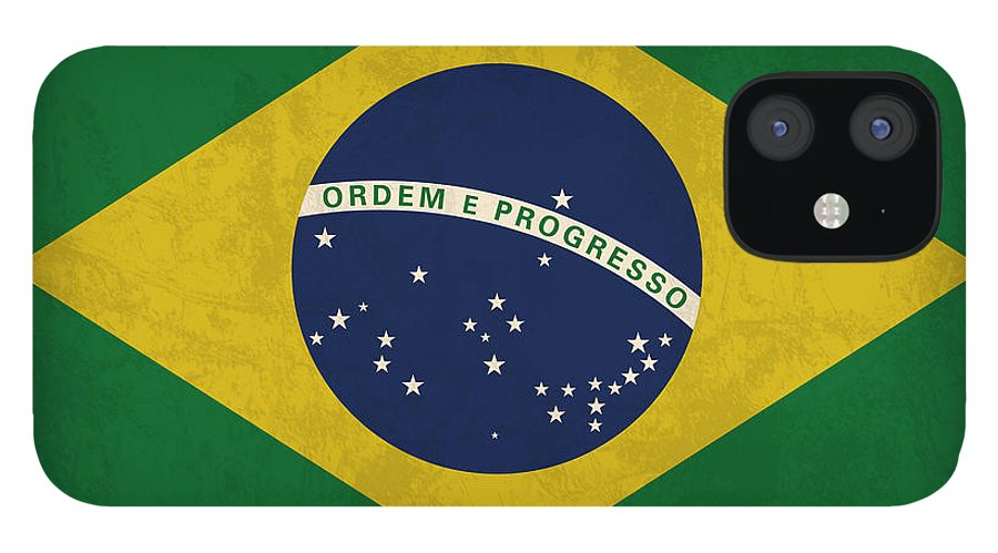 Brazil Flag IPhone 12 Case featuring the mixed media Brazil Flag Vintage Distressed Finish by Design Turnpike