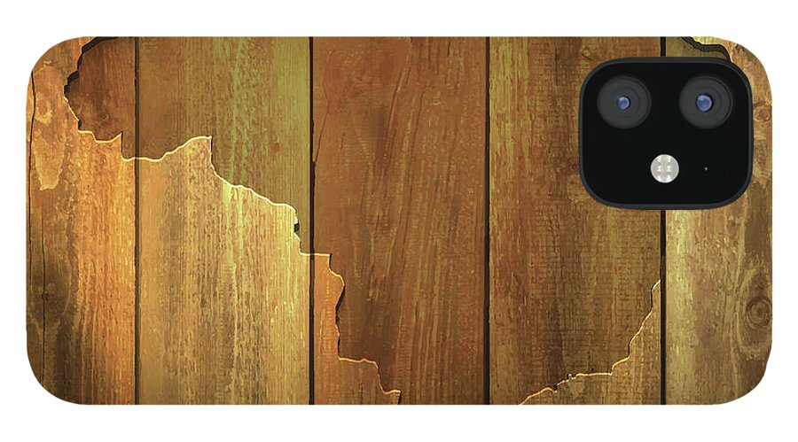 Material IPhone 12 Case featuring the digital art Brazil Map On Lit Wooden Background by Bgblue