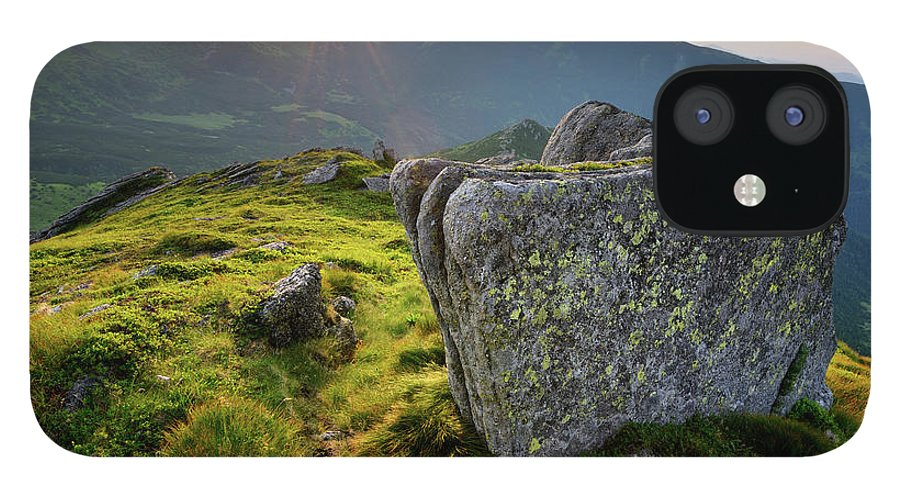 Scenics IPhone 12 Case featuring the photograph Bright Sunset Landscape In Mountains by Rezus