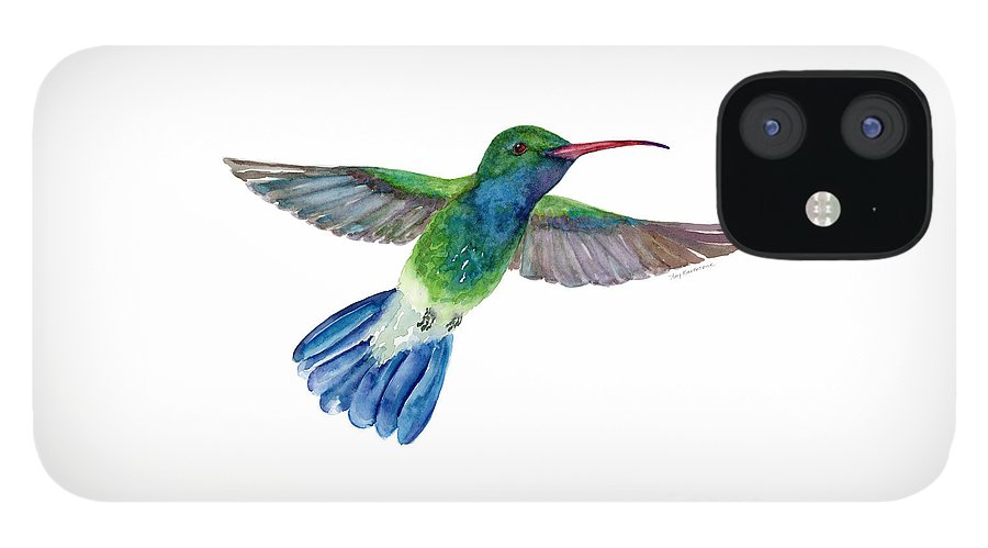 Bird IPhone 12 Case featuring the painting BroadBilled Fan Tail Hummingbird by Amy Kirkpatrick