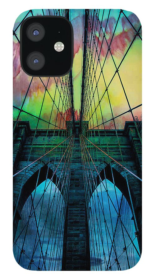 Brooklyn Bridge iPhone 12 Case featuring the digital art Psychedelic Skies by Az Jackson