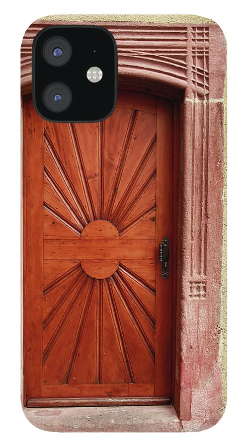 Apartment IPhone 12 Case featuring the photograph Brown Door Exterior Entrance by Bendebruyn
