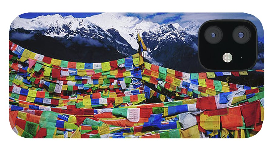 Chinese Culture IPhone 12 Case featuring the photograph Buddhist Prayer Flags With Meili by Richard I'anson