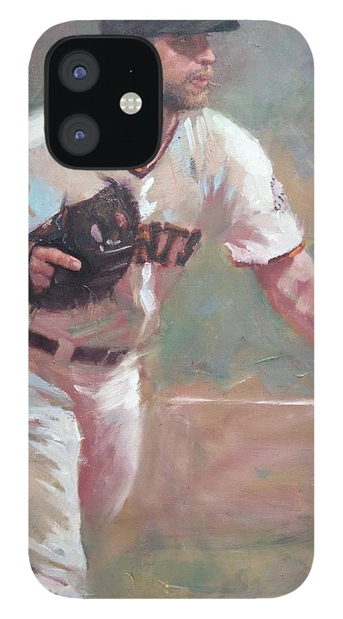 Madison Bumgarner Painting Sf Giants Baseball Artwork IPhone 12 Case featuring the painting Bumgarner 2014 NLCS by Darren Kerr