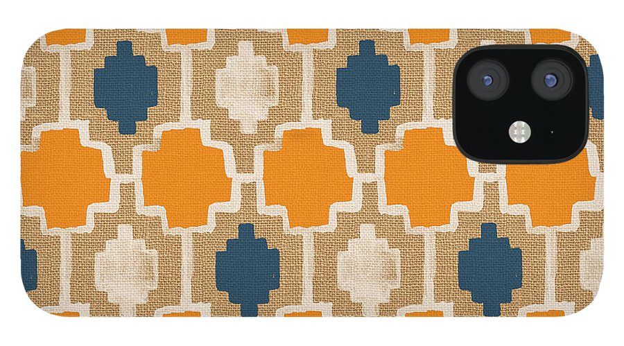 Abstract Pattern IPhone 12 Case featuring the painting Burlap Blue and Orange design by Linda Woods