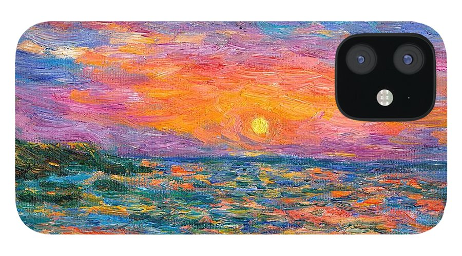 Ocean IPhone 12 Case featuring the painting Burning Shore by Kendall Kessler