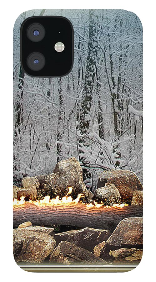 Yule IPhone 12 Case featuring the digital art Burning Yule Log by Melissa A Benson
