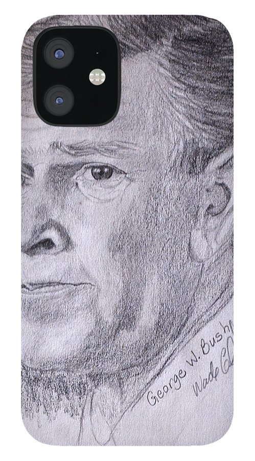 Bush.president Bush IPhone 12 Case featuring the drawing Bush by Wade Clark