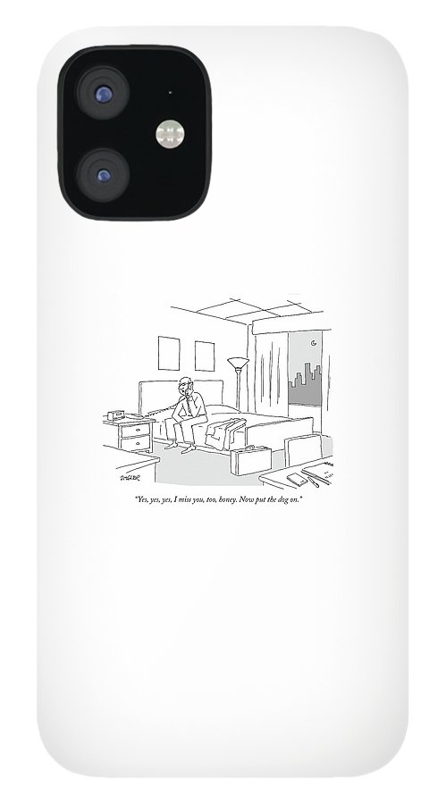 Businessman Sitting On A Bed In Hotel Room IPhone 12 Case