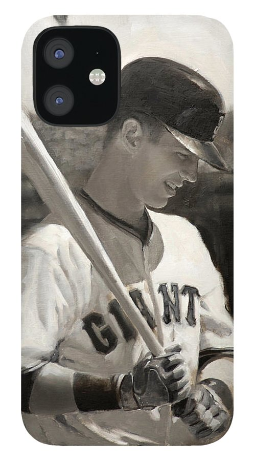 Buster IPhone 12 Case featuring the painting Buster Posey - Quiet Leader by Darren Kerr