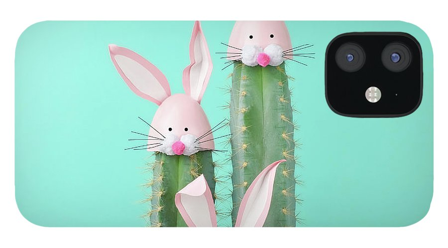 Easter Bunny IPhone 12 Case featuring the photograph Cactus With Easter Rabbit Decorations by Juj Winn