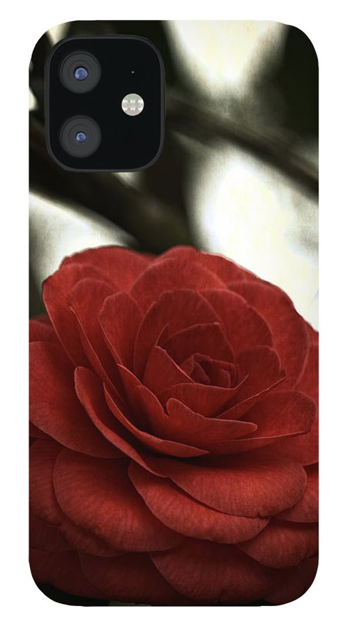 Red IPhone 12 Case featuring the photograph Camellia Grunge by Keith Gondron