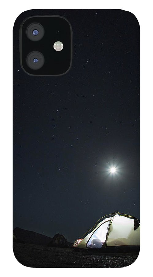 Camping IPhone 12 Case featuring the photograph Camping On The Beach Under The Moon And by Anna Henly