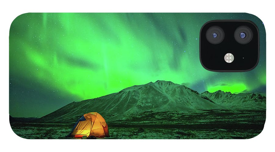 Camping iPhone 12 Case featuring the photograph Camping Under Northern Lights by Piriya Photography