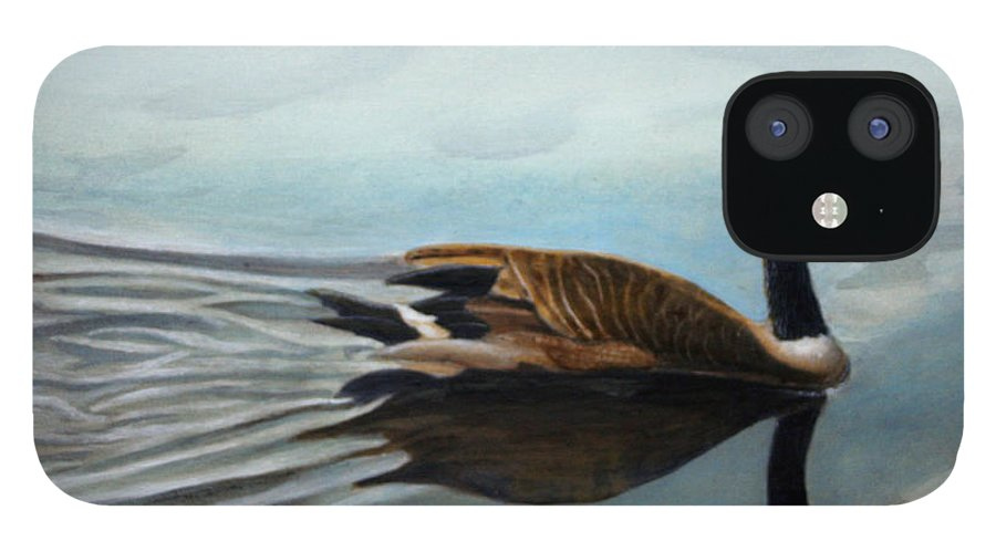 Rick Huotari IPhone 12 Case featuring the painting Canadian on the St. Croix by Rick Huotari