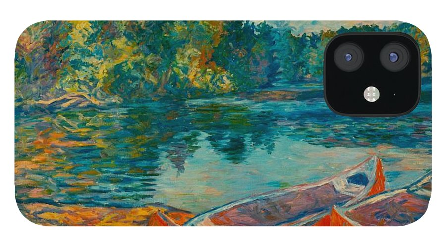 Landscape IPhone 12 Case featuring the painting Canoes at Mountain Lake by Kendall Kessler