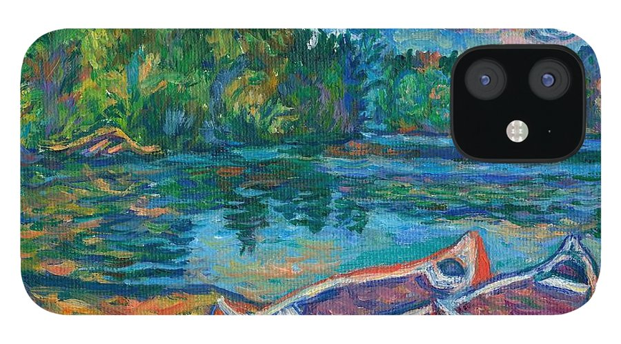 Landscape IPhone 12 Case featuring the painting Canoes at Mountain Lake Sketch by Kendall Kessler