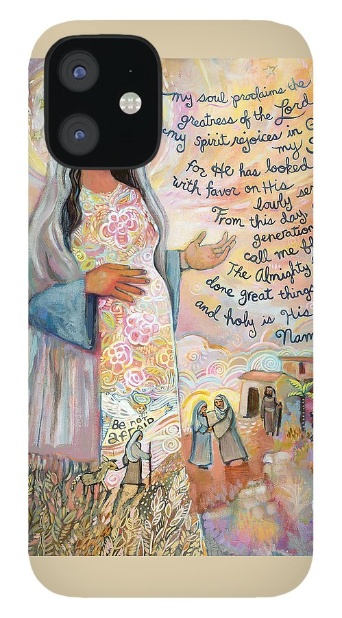 Jen Norton iPhone 12 Case featuring the painting Canticle of Mary by Jen Norton