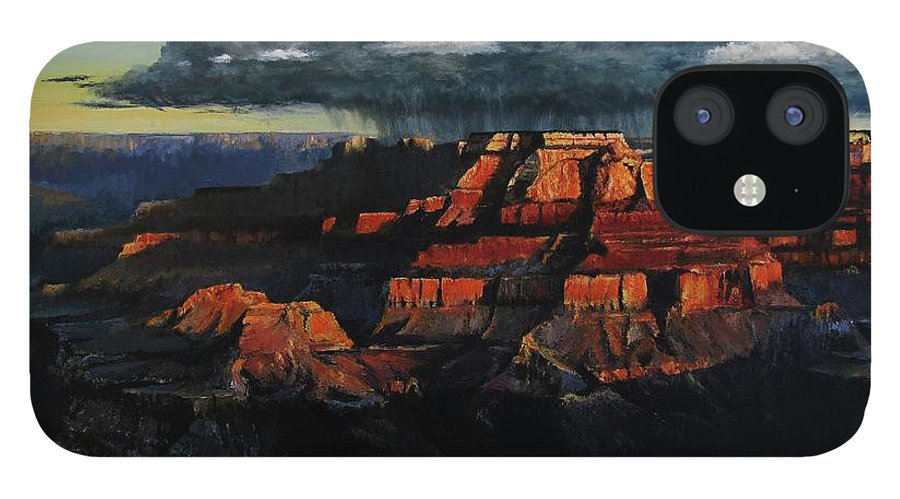Grand Canyon IPhone 12 Case featuring the painting Canyon Colors by David Mittner