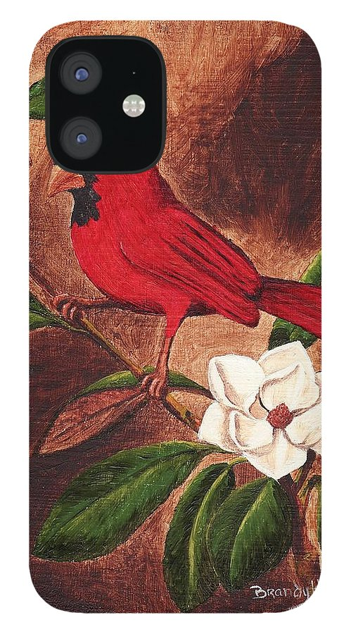 Birds IPhone 12 Case featuring the painting Cardinal II by Brandy House