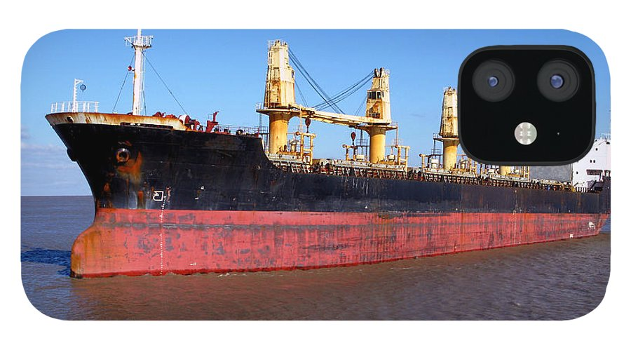 Ship IPhone 12 Case featuring the photograph Cargo Ship by Olivier Le Queinec