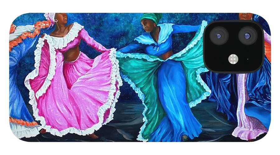 Caribbean Dance iPhone 12 Case featuring the painting Caribbean Folk Dancers by Karin Dawn Kelshall- Best