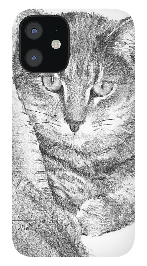 <a Href=http://miketheuer.com Target =_blank>www.miketheuer.com</a> Cat In A Blanket Pencil Portrait IPhone 12 Case featuring the drawing Cat In A Blanket Pencil Portrait by Mike Theuer