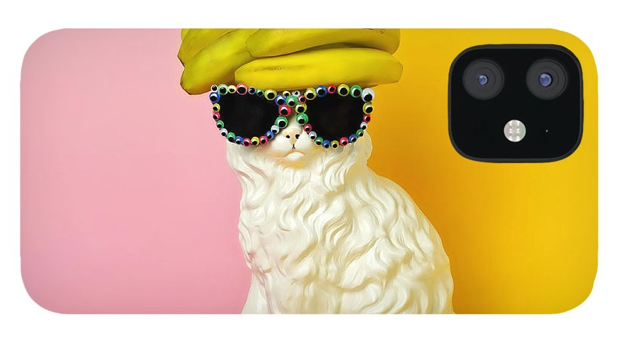 Statue IPhone 12 Case featuring the photograph Cat Wearing Sunglasses And Banana Wighat by Juj Winn