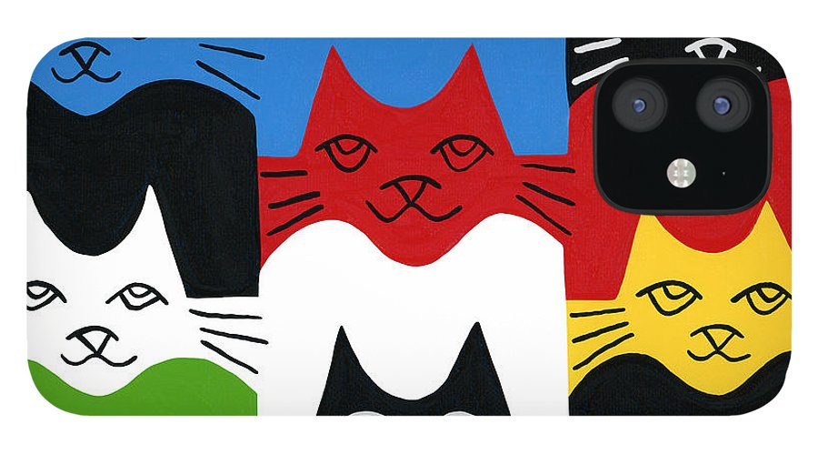 Cat IPhone 12 Case featuring the painting Cats by Mike Segal