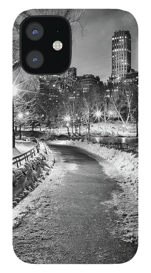 Snow IPhone 12 Case featuring the photograph Central Park Path Night Black & White by Michael Lee