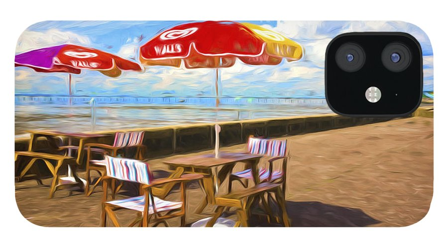 Southend On Sea IPhone 12 Case featuring the photograph Chairs and umbrellas at Southend on Sea by Sheila Smart Fine Art Photography