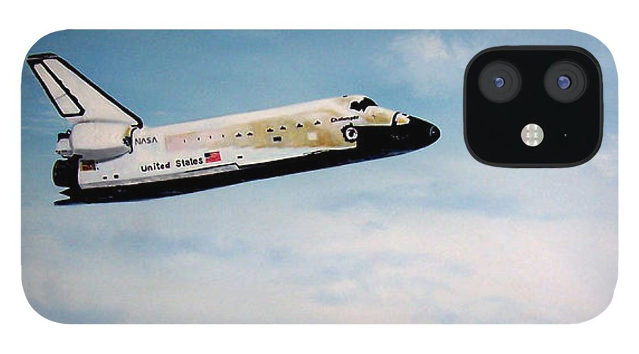 Shuttle IPhone 12 Case featuring the painting Challenger by Murphy Elliott