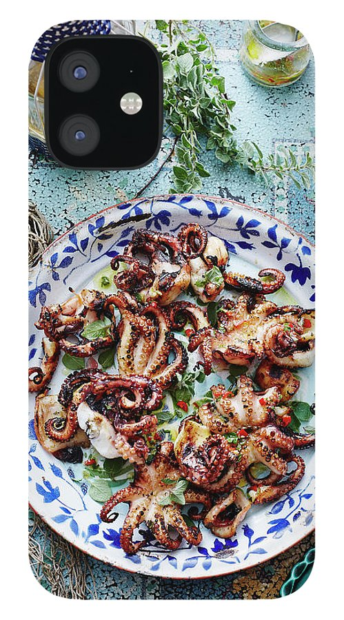 Temptation IPhone 12 Case featuring the photograph Chargrilled Lemon Oregano Octopus by Brett Stevens