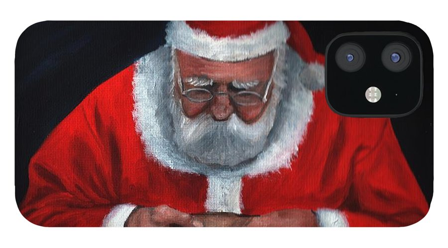 Christmas IPhone 12 Case featuring the painting Checking it Twice by Anne Kushnick