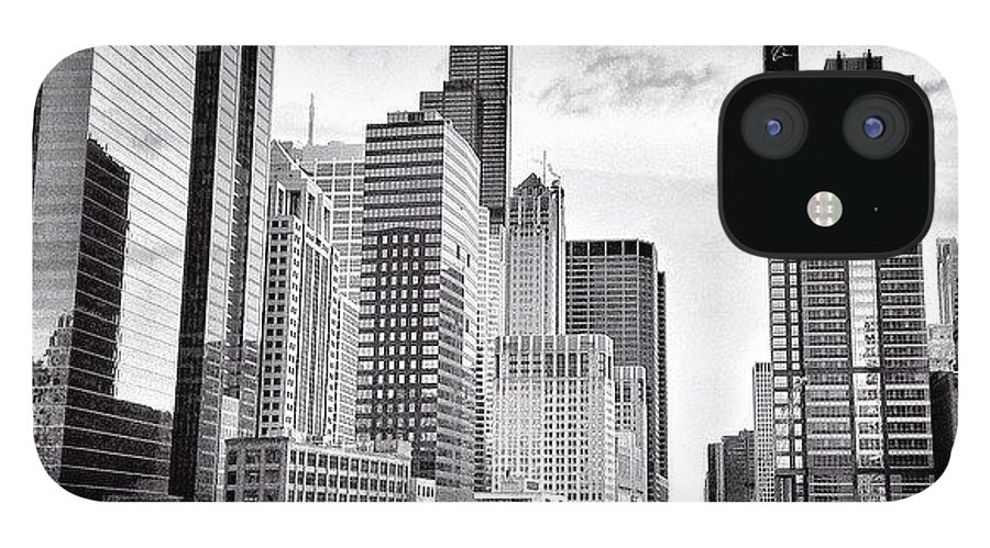 America IPhone 12 Case featuring the photograph Chicago River Buildings Black and White Photo by Paul Velgos