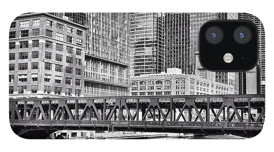 America IPhone 12 Case featuring the photograph Wells Street Bridge Chicago HDR Photo by Paul Velgos